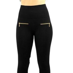 0940383c8 Pants - Women's High Waist Black Leggings W/Fashion Zipper